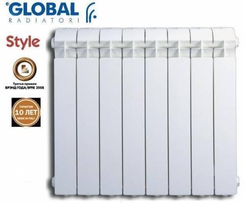 Радиатор алюминиевый отопления (батарея) 500x100 Global (боковое подключение)