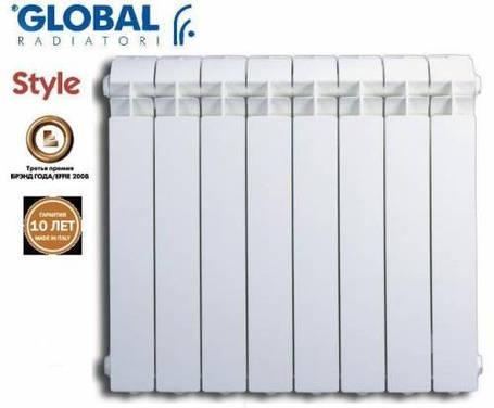 Радиатор алюминиевый отопления (батарея) 500x100 Global (боковое подключение), фото 2