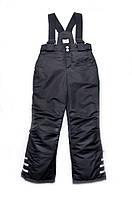 Теплые детские брюки на бретелях для мальчика 4-9 лет, р. 110-134 ТМ Модный карапуз Черный 03-00668-0