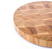 Кухонная торцевая разделочная доска Ø40х4 см круглая из ясеня 0012