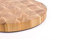 Кухонная торцевая разделочная доска Ø45х4,5 см круглая из ясеня 0013