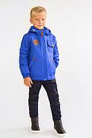 Утепленная демисезонная куртка для мальчика 5-8 лет, р. 110-128 ТМ Модный карапуз Синий 03-00641-0