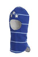 Шлем детский зимний со звездами для мальчика (шапка детская закрытая) ТМ Beezy Синий 1408-30