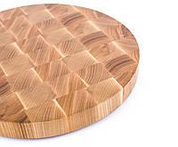 Кухонная торцевая разделочная доска Ø50х5 см круглая из ясеня 0014