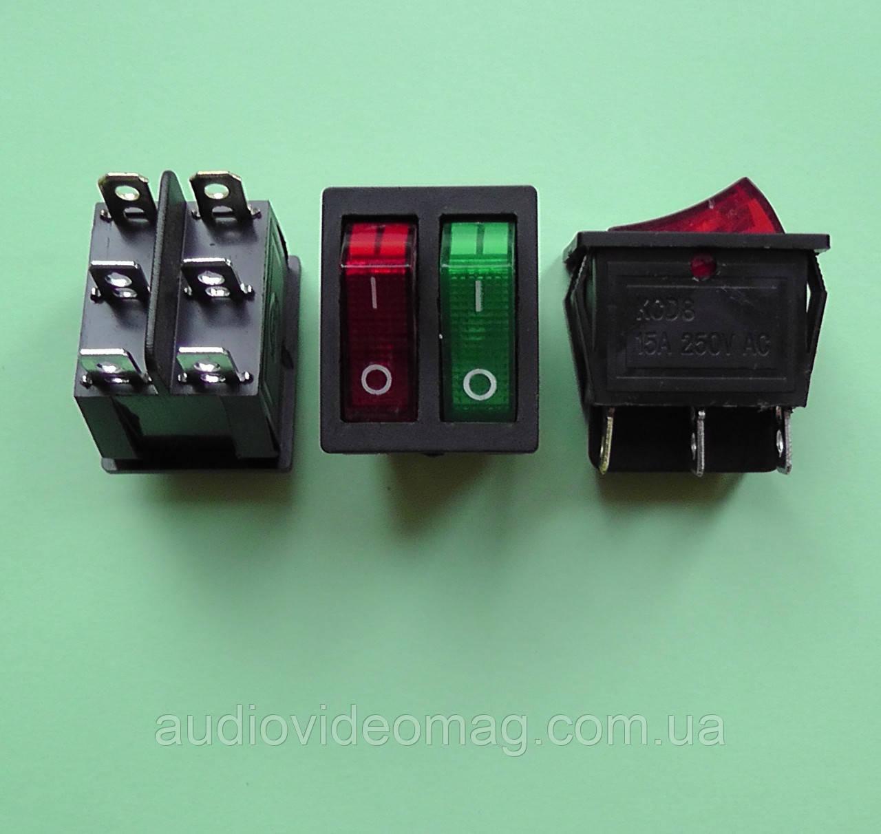 Кнопочный выключатель 250V 16A, двухцветный, сдвоенный 28.5 х 22мм с подсветкой