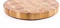 Кухонная торцевая разделочная доска Ø60х6 см круглая из ясеня 0016