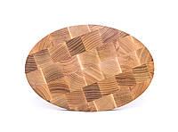 Кухонная торцевая разделочная доска 20х30х3 см овальная из ясеня 0017, фото 1