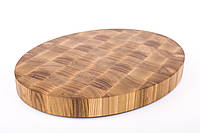 Кухонная торцевая разделочная доска 35х50х4,5 см овальная из ясеня 0019