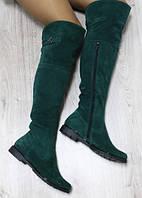 Сапоги зимние Ботфорты замшевые, зеленые