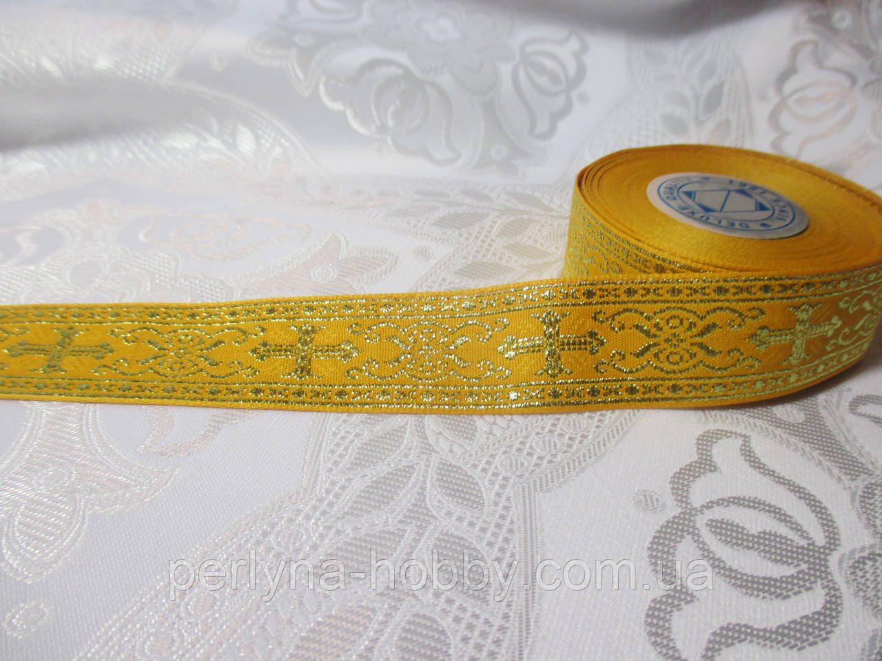 Тасьма галун церковна жовта з  люрексом золото 2,5 см