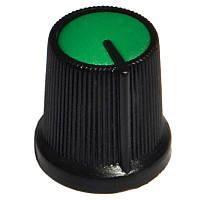 Ручка AG 3 для потенціометра чорна з зеленою вставкою