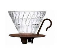 Пуровер Hario V60 02 Glass Dripper Brown стеклянный черный для заваривания кофе на 1-4 порции, фото 1