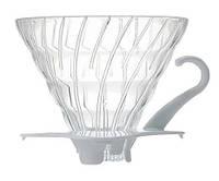 Пуровер Hario V60 02 Glass Dripper White стеклянный черный для заваривания кофе на 1-4 порции, фото 1