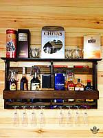 Полка для вина на 8 бутылок с держателем для бокалов ручная работа