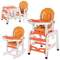 Стульчик M 1563-7 для кормления, 2в1 (столик и стульчик), качалка, колес 4 шт, оранжево-белый, 67,5-32-52 см