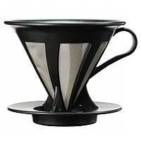 Пуровер Hario Cafeor Dripper V60 02 Black  c металлическим фильтром CFOD-02B, фото 1
