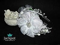 Шикарный обруч с цветами и кристаллами ручная вышивка бисером