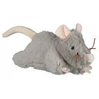 Мышка плюшевая серая с пищалкой 15см