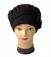 Шапка женская вязаная Инга шерсть натуральная цвет черный