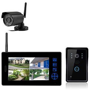 """Комплект беспроводного видеонаблюдения: видеорегистратор с 8"""" монитором+ видеокамера+вызывная панель KIT-DOOR2"""