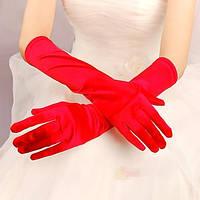 Длинные женские вечерние атласные перчатки закрытые, размер универсальный, цвета разные. Розница, опт., фото 1