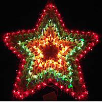 """Новогоднее панно """"Звезда"""" 5 конечная с мишурой, гирлянда 120 микро ламп"""