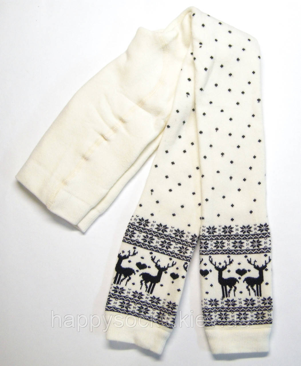 Махровые детские лосины с оленями белого цвета Bross