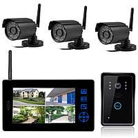 """Комплект беспроводного видеонаблюдения видеорегистратр с 8"""" монитором+3 видеокамеры+вызывная панель KIT-DOOR4"""