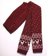 Махровые леггинсы с оленями детские бордового цвета, фото 1