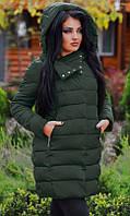 Модная женская куртка прямого фасона на кнопках со съемным капюшоном плащевка холлофайбер батал
