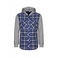 Рубашка для мальчика подростка 163-34B-08-455д/р синяя в клетку на подкладке