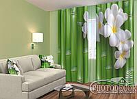 """ФотоШторы """"Бамбук и цветы"""" 2,5м*2,9м (2 полотна по 1,45м), тесьма"""