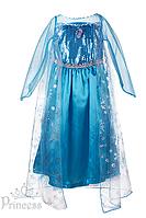 """Карнавальное платье Эльзы из м/ф """"Холодное Сердце""""с прозрачными рукавами для девочек"""