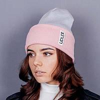 Серо-розовая шапочка, фото 1