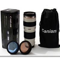 Термочашка с линзами в форме объектива Caniam (Canon)  с чехлом Белая термокружка