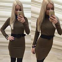 Обтягивающее вискозное платье с поясом