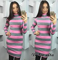 Теплое акриловое платье в крупную полоску