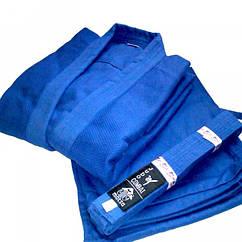 Кимоно дзюдо синее MATSA МА-0015-2 (х-б, р.2 (150см), пл.450г на м2)