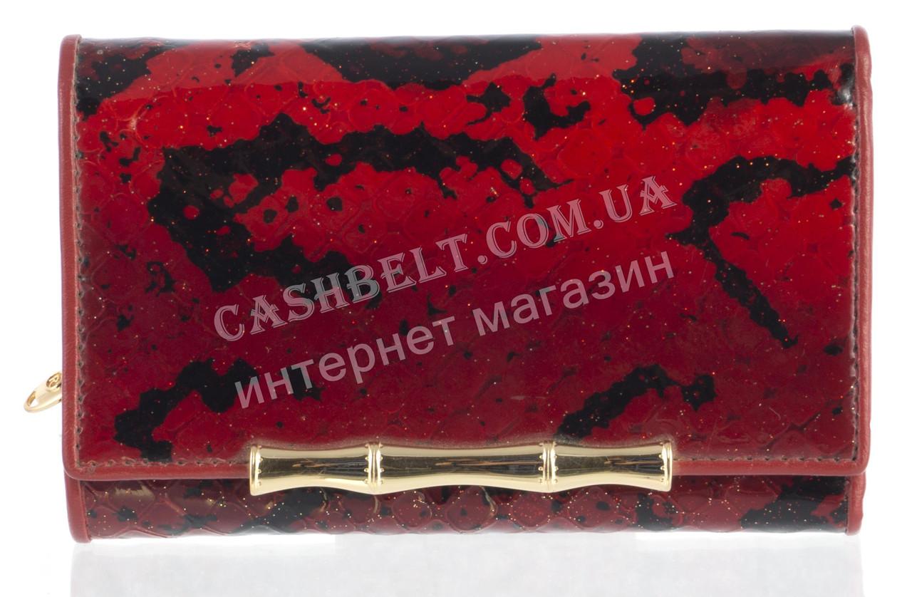 Небольшой элитный женский кожаный лаковый кошелек высокого качества Sergio Tacchini art. 29140 красный