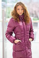 Пальто-пуховик для девочек бордовое