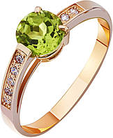 Кольцо золотое с хризолитом , фото 1