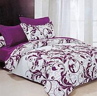 Ткань для постельного белья бязь Вензеля фиолетовые