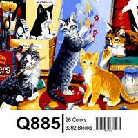 "Q885 ""Котята - художники"" Роспись по номерам на холсте 40х50см"