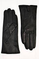 Женские черные кожанные перчатки классическогопошива с надрезом с верху