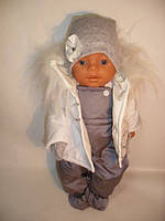 Зимний комплект ( курточка + полукомбинезон + шапка + варежки) для куклы Baby Born