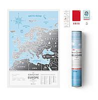 "Скретч карта Европы ""Travel Map Silver Europe"" (тубус), англ."