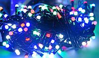 4х цветный микс,лед гирлянда нить 10 метров на 200  лед ламп в виде шарика 4мм, черный кабель