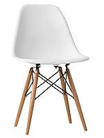 Стильный стул Ultis, стул пластик с деревьянными ножками. Современный стул, белый