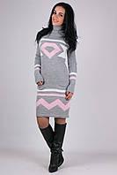 Стильное вязаное теплое платье с геометрическим узором