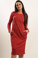 Модное платье  из трикотажа и замши Вишня